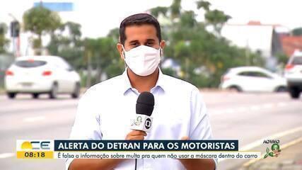 Detran-CE alerta para informação falsa sobre multa para quem não usar máscara em carro