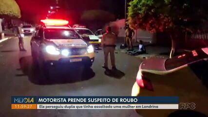 Motorista de aplicativo ajuda a polícia a prender suspeitos de roubo, em Londrina