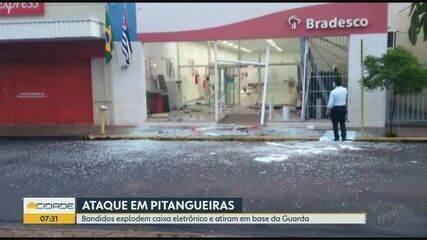 Ladrões explodem caixa eletrônico e atiram em base da Guarda Municipal de Pitangueiras