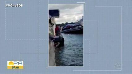 Rebocador naufraga em Breves, na ilha do Marajó