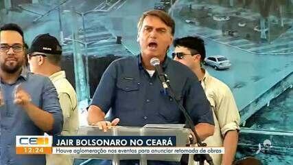 Bolsonaro anuncia retomada de obras no CE e causa aglomeração