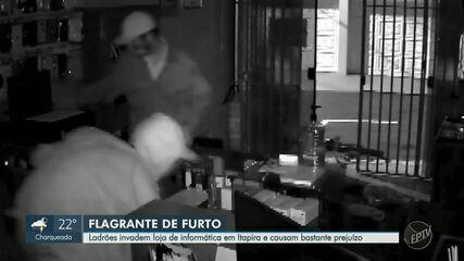 Ladrões invadem loja de informática e causam prejuízo em Itapira