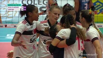Melhores momentos: Sesc-Flamengo 3 x 0 Curitiba pela Superliga Feminina de Vôlei