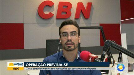 Operação Previna-se, da PM, notifica cinco estabelecimentos, em João Pessoa