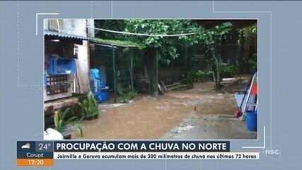 Joinville e Garuva registram grande volume de chuva nas últimas 72 horas