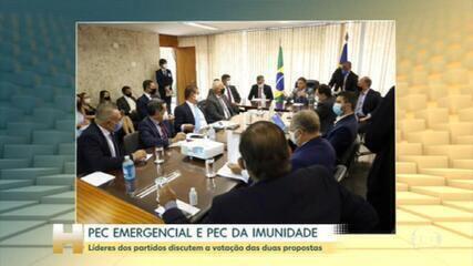 Líderes de partidos debatem votação das PECs emergencial e da imunidade