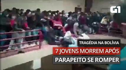 VÍDEO: Parapeito cede em universidade da Bolívia; número de mortos ainda é incerto