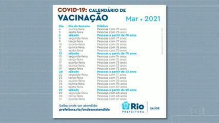 Novo calendário prevê vacinação de idosos de 78 a 67 anos até 31 de março no Rio