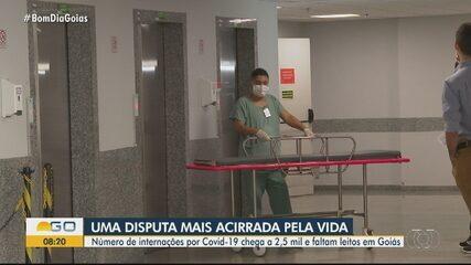 Número de internações por Covid-19 chega a 2,5 mil e faltam leitos em Goiás