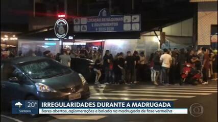Madrugada de sexta (05) tem bares abertos, balada e aglomerações em plena fase vermelha