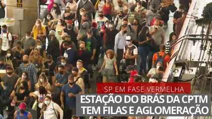 VÍDEO: Estação de trem do Brás tem aglomeração no terceiro dia de fase mais restritiva da quarentena