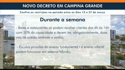 Novo decreto de Campina Grande fecha comércio, restaurantes e bares nos fins de semana