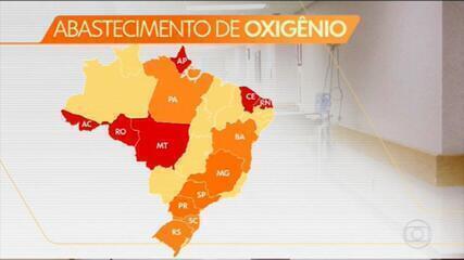 Seis estados estão com abastecimento de oxigênio comprometido, diz Ministério da Saúde