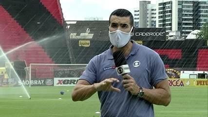 Repórter da Globo leva banho durante transmissão de Sport x Central