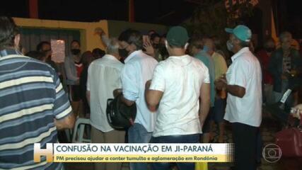 Vacinação de pessoas acima de 65 anos tem confusão em Ji-Paraná, RO
