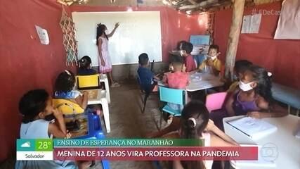 Aos 12 anos, Ericka decidiu abrir uma escolinha durante a pandemia