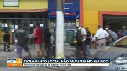 Isolamento social não aumenta durante antecipação dos feriados em SP
