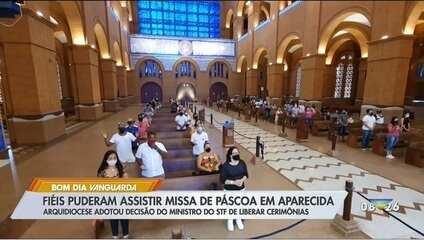 Após decisão do STF, missa de Páscoa na Basílica de Aparecida (SP) foi celebrada com a presença de fiéis.