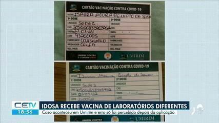 Idosa recebe duas doses de vacinas diferentes contra a Covid-19 em Umirim