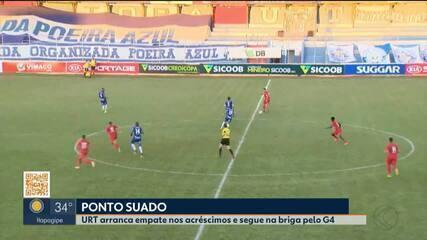 URT marca no fim e arranca empate contra o Boa Esporte pelo Mineiro