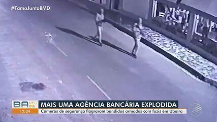 Câmeras flagram homens armados com fuzis durante explosão de agência bancária na Bahia