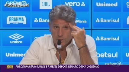 Fim de uma era: Renato deixa o Grêmio após 4 anos e 7 meses à frente do clube