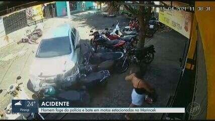 Fugindo da polícia, motorista sem CNH derruba 9 motos estacionadas em Ribeirão Preto