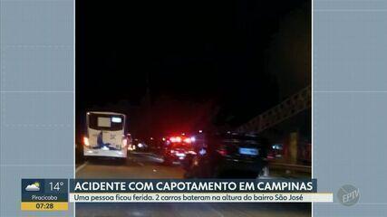 Capotamento na Rodovia Santos Dummont em Campinas deixa uma pessoa ferida