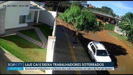 Laje de obra desaba e deixa trabalhadores soterrados, em Foz do Iguaçu