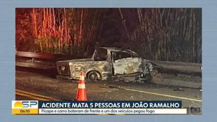 Acidente mata 5 pessoas em João Ramalho