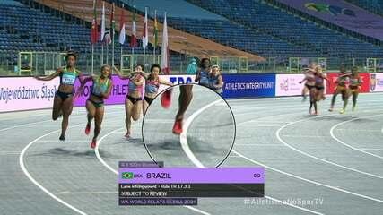 Brasil chega em primeiro na bateria, mas acaba desclassificado no 4x100m feminino