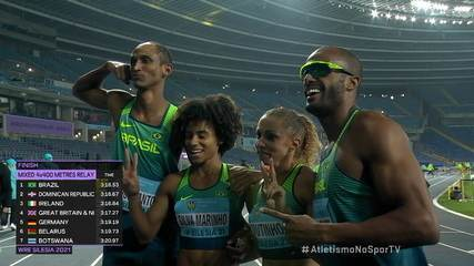 Brasil vence bateria e se classifica para a final do 4 x 400m misto do Mundial de Revezamento