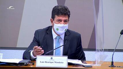 Mandetta diz na CPI que Planalto tentou mudar a bula da cloroquina