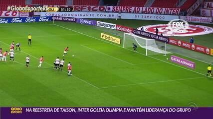 Com retorno de Taison, Inter desfila em campo e aplica goleada no Olimpia