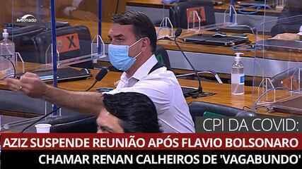 VÍDEO: Flavio Bolsonaro chama Renan Calheiros de 'vagabundo' e CPI é suspensa