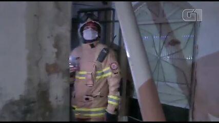 Bombeiros avaliam local onde botijão de gás explodiu em Ceilândia, no DF