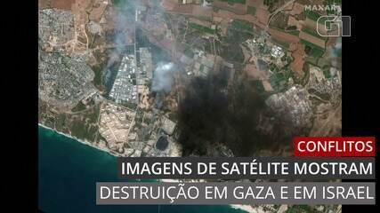 Imagens de satélite mostram destruição em Gaza e em Israel