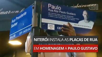 VÍDEO: Rebatizada, rua em Niterói recebe placas com nome do ator Paulo Gustavo