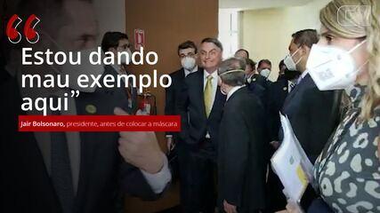 VÍDEO: Bolsonaro coloca máscara em cerimônia no Equador: 'Estou dando mau exemplo aqui'