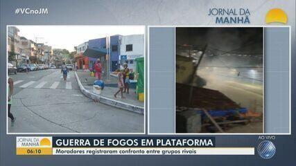 Guerra de fogos de artifício é registrada no bairro de Plataforma; confira