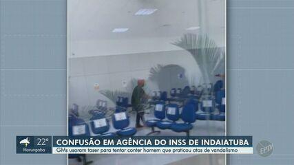 Vídeo mostra guardas rendendo homem que quebrou equipamentos do INSS em Indaiatuba