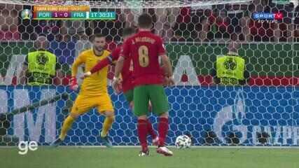Aos 30 min do 1º tempo - gol de pênalti de Cristiano Ronaldo de Portugal contra a França