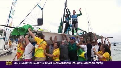 Kahena Kunze e Martine Grael batizam barco em homenagem ao Japão