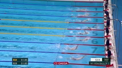 Guilherme Guido fica em sétimo na semifinal dos 100m costas masculino na natação