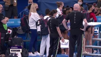 Simone Biles sente suposta lesão e não vai participar das próximas rotações