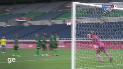 O gol de Brasil 1 x 0 Zâmbia pelo futebol feminina nas Olimpíadas de Tóquio
