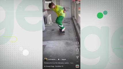 """Atleta do skate park, Luiz Francisco mostra primeira """"trick"""" na Vila Olímpica"""