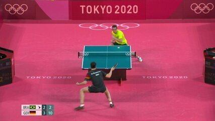 O Alemão fecha o 6º set e vence Hugo Calderano de virada, 4x2