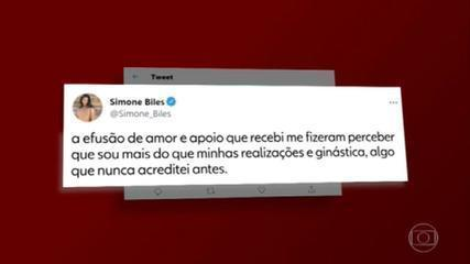Simone Biles agradece fãs pelo apoio e carinho, depois da desistência da prova