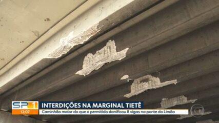 Caminhão provoca danos estruturais na Ponte do Limão ao tentar passar sob o local